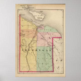 Mapa del condado de Cheboygan, Michigan Póster