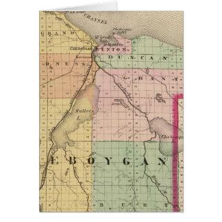 Mapa del condado de Cheboygan, Michigan Tarjeta De Felicitación