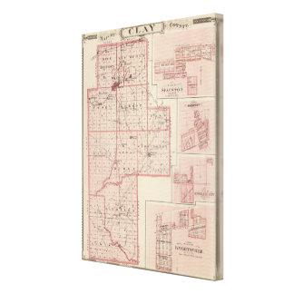 Mapa del condado de Clay con Staunton, armonía Impresiones De Lienzo