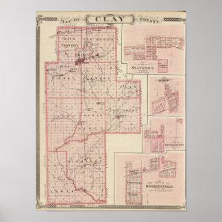 Mapa del condado de Clay con Staunton, armonía Póster