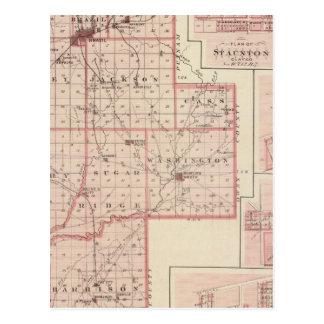 Mapa del condado de Clay con Staunton, armonía Tarjetas Postales