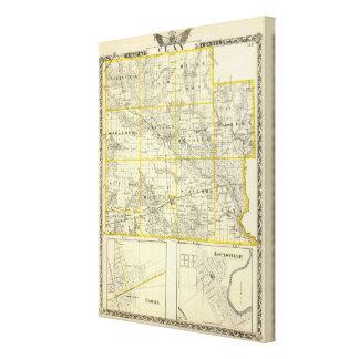 Mapa del condado de Clay, flora y de Louisville Lona Envuelta Para Galerias
