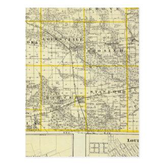 Mapa del condado de Clay, flora y de Louisville Tarjeta Postal