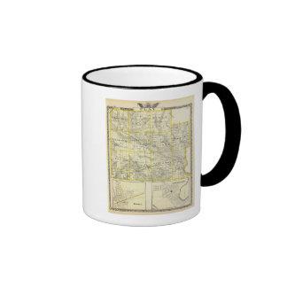 Mapa del condado de Clay, flora y de Louisville Tazas De Café