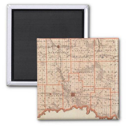 Mapa del condado de Clinton, estado de Iowa Imán De Frigorífico