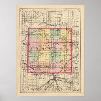 Mapa del condado de Clinton, Michigan Póster