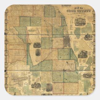 Mapa del condado de Cook, Illinois (1861) Pegatina Cuadrada