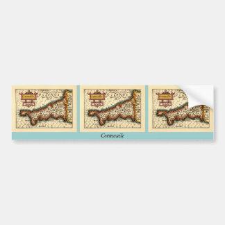 """Mapa del condado de """"Cornwaile"""" Cornualles, Inglat Pegatina Para Auto"""