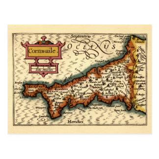 """Mapa del condado de """"Cornwaile"""" Cornualles, Postal"""