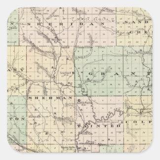 Mapa del condado de Dunn, estado de Wisconsin Pegatina Cuadrada
