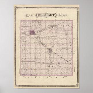 Mapa del condado de Elkhart Poster