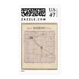 Mapa del condado de Elkhart Sello Postal