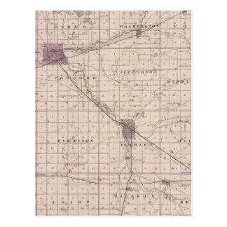 Mapa del condado de Elkhart Tarjetas Postales