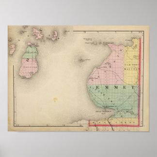 Mapa del condado de Emmet, Michigan Póster