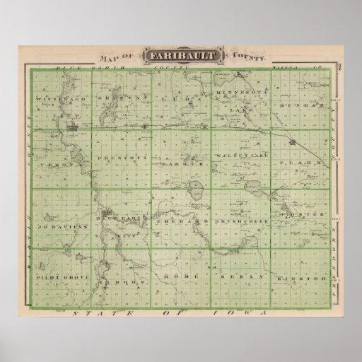 Mapa del condado de Faribault, Minnesota Impresiones