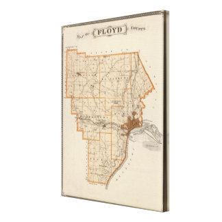 Mapa del condado de Floyd Impresión En Lona