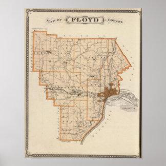 Mapa del condado de Floyd Póster
