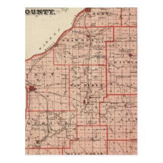 Mapa del condado de Fountain Tarjeta Postal