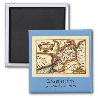 """Mapa del condado de """"Glocestershire"""" Gloucestershi Imán Cuadrado"""