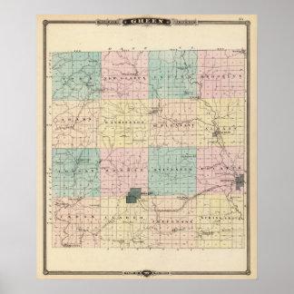 Mapa del condado de Green, estado de Wisconsin Impresiones