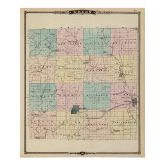 Mapa del condado de Green, estado de Wisconsin Póster