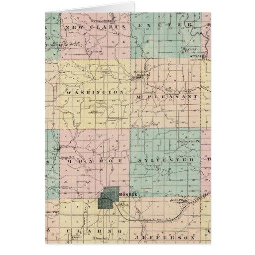 Mapa del condado de Green, estado de Wisconsin Tarjeta De Felicitación