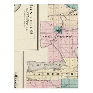 Mapa del condado de Green Lake, estado de Wisconsi Postales
