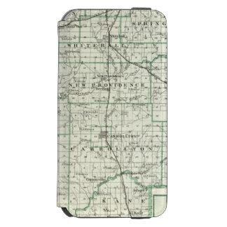 Mapa del condado de Green y de Carrollton Funda Billetera Para iPhone 6 Watson