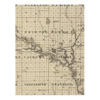 Mapa del condado de Greene, estado de Iowa Tarjeta Postal