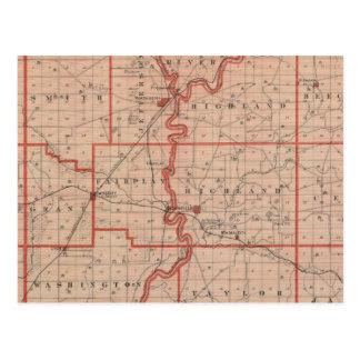 Mapa del condado de Greene Tarjetas Postales