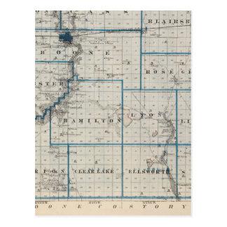 Mapa del condado de Hamilton, estado de Iowa Postal