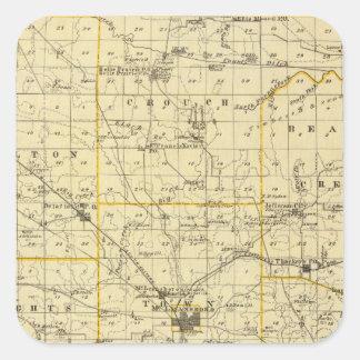 Mapa del condado de Hamilton Pegatina Cuadrada