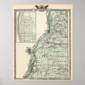 Mapa del condado de Henderson y de Oquawka Impresiones
