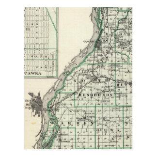 Mapa del condado de Henderson y de Oquawka Postal