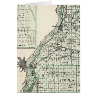 Mapa del condado de Henderson y de Oquawka Tarjeta De Felicitación