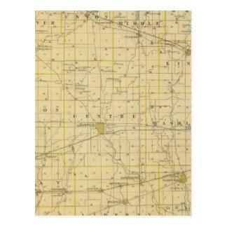 Mapa del condado de Hendricks Tarjeta Postal