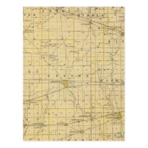 Mapa del condado de Hendricks Postales