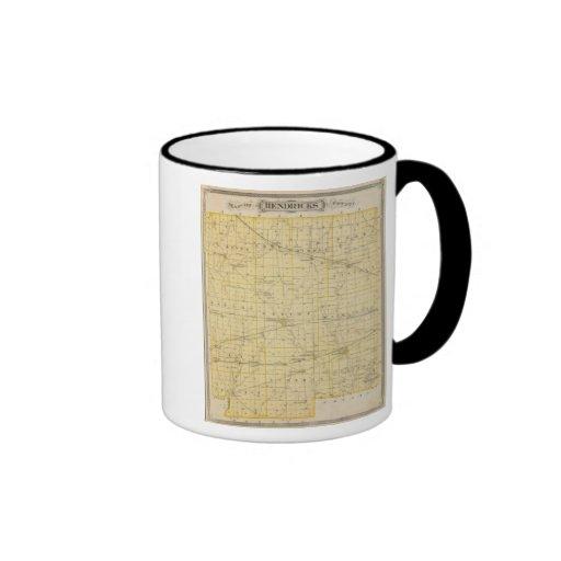 Mapa del condado de Hendricks Tazas De Café