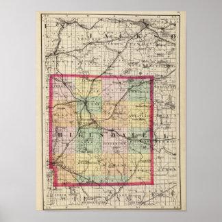 Mapa del condado de Hillsdale, Michigan Póster