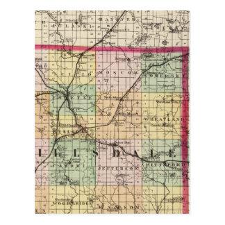 Mapa del condado de Hillsdale, Michigan Tarjetas Postales