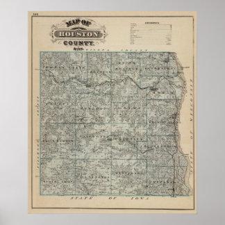 Mapa del condado de Houston, Minnesota Póster