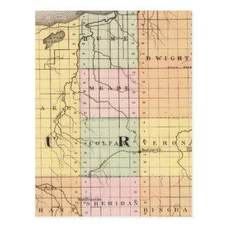 Mapa del condado de Huron, Michigan Tarjetas Postales