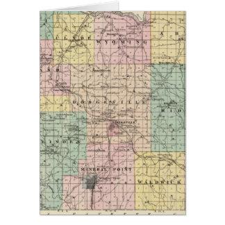 Mapa del condado de Iowa, estado de Wisconsin Tarjetas