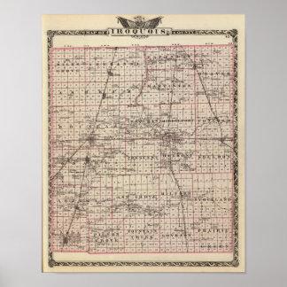 Mapa del condado de Iroquois Impresiones