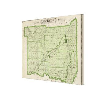Mapa del condado de Jackson 2 Impresión En Lienzo Estirada