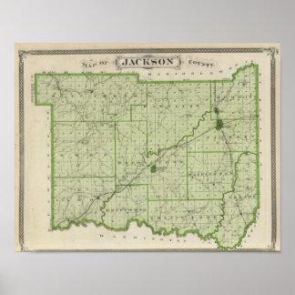 Mapa del condado de Jackson Póster