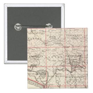 Mapa del condado de Jackson, torre magnífica Pin Cuadrada 5 Cm
