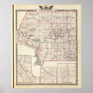 Mapa del condado de Jackson, torre magnífica Póster