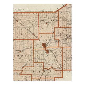 Mapa del condado de Jennings Postales