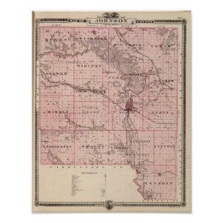 Mapa del condado de Johnson, estado de Iowa Póster